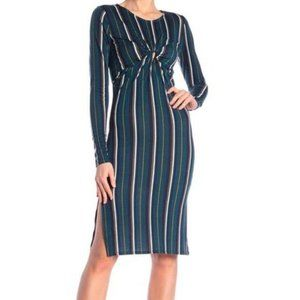 Planet Gold Green Striped Knot Front Midi Dress M